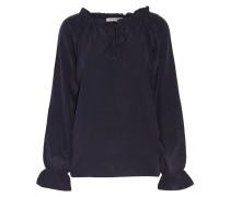 Laney Ruffled Silk-crepe Blouse Mitternachtsblau