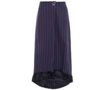 Hattie Fringe-trimmed Pinstriped Organic Cotton-twill Midi Wrap Skirt
