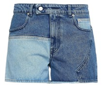 Jeansshorts mit Einsätzen und Fransen