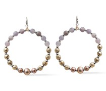 Silver-tone, Pearl And Beaded Stone Earrings