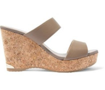 Parker textured-leather wedge sandals