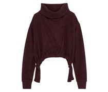 Cropped Sweatshirt aus Fleece mit Raffungen