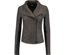 Draped Leather Jacket Schiefer