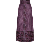 Embroidered Faux Suede Maxi Skirt Brombeere
