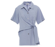 Knotted Draped Broadcloth Shirt