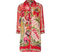 Florida: Land Of Sunshine Printed Silk-chiffon Jacquard Mini Dress Mehrfarbig