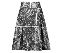 Printed pleated satin-twill culottes