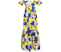Antigone Off-the-shoulder Floral-print Cotton-blend Faille Maxi Dress