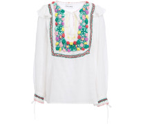 Crochet-trimmed Embroidered Cotton-gauze Blouse