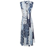Patchwork-effect Printed Silk-twill Midi Dress