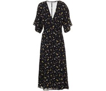 Karen Floral-print Crepe De Chine Midi Wrap Dress