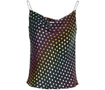 Clover Drapiertes Top aus Seidensatin mit Polka-dots