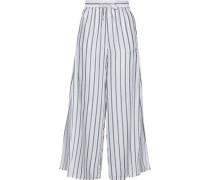 Chloe Metallic Striped Voile Wide-leg Pants Light Blue