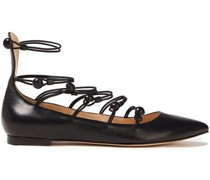 Marquis Button-detailed Leather Point-toe Flats