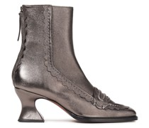Scalloped Metallic Leather Ankle Boots