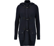 Knitted Hooded Coat Navy