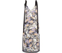 Lace-trimmed Floral-print Washed-crepe Midi Dress