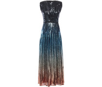 Woman Sienna Pleated Dégradé Stretch-tulle Midi Dress Storm Blue