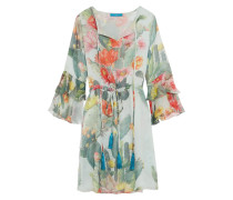 Ruffled Printed Silk Dress Mint