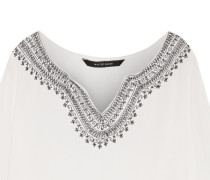 Zin Embroidered Crinkled-gauze Top Weiß
