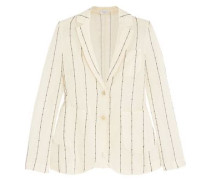 Embellished striped cotton-gauze blazer