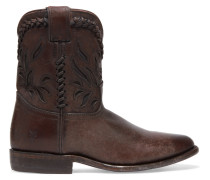 Wyatt Cutout Distressed Leather Ankle Boots Dark brown