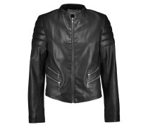 Leather Biker Jacket Schwarz