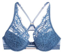 Isabel Floating corded lace and point d'esprit plunge bra