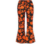 Floral-jacquard Kick-flare Pants
