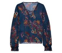 Castro Lace-up Metallic Floral-print Gauze Blouse