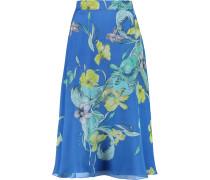 Floral-print Silk-crepe Midi Skirt Ultramarin