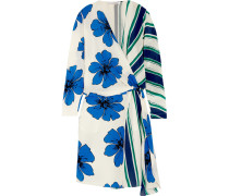 Printed Silk Crepe De Chine Wrap Dress Blau