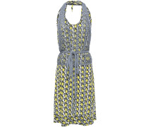 Woman Layered Crocheted And Crepe De Chine Halterneck Dress Yellow