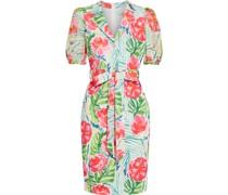 Kleid aus Scuba mit Floralem Print, Georgette-einsätzen und Gürtel