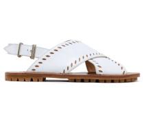 Laser-cut Leather Slingback Sandals