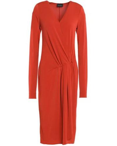 Gathered Crepe Dress Orange