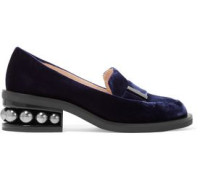 Casati Embellished Velvet Loafers Indigo