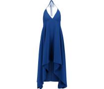 Halterneck Asymmetric Crepe Midi Dress Königsblau