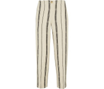 Carrie Striped Slub Silk-blend Straight-leg Pants Ecru