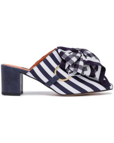 Bow-embellished Striped Satin Mules Navy