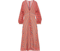 Button-detailed Striped Silk-chiffon Midi Dress