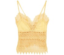 Daba Crocheted Lace-paneled Cotton-blend Voile Top