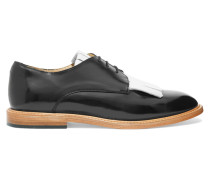Fringed Glossed-leather Brogues Weiß