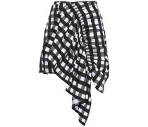 Asymmetric Ruched Gingham Cotton-jacquard Mini Skirt