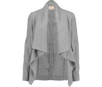 Draped Linen-blend Jacket Hellgrau
