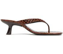 Sandalen aus Glanzleder mit Krokodileffekt