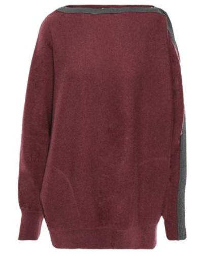 Bead-embellished Cashmere Sweater Burgundy