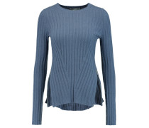 Zip-detailed Ribbed-knit Sweater Azurblau