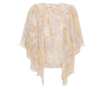 Ruffled Printed Silk-voile Blouse