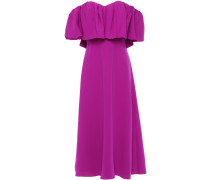 Off-the-shoulder Ruffled Silk-crepe Midi Dress